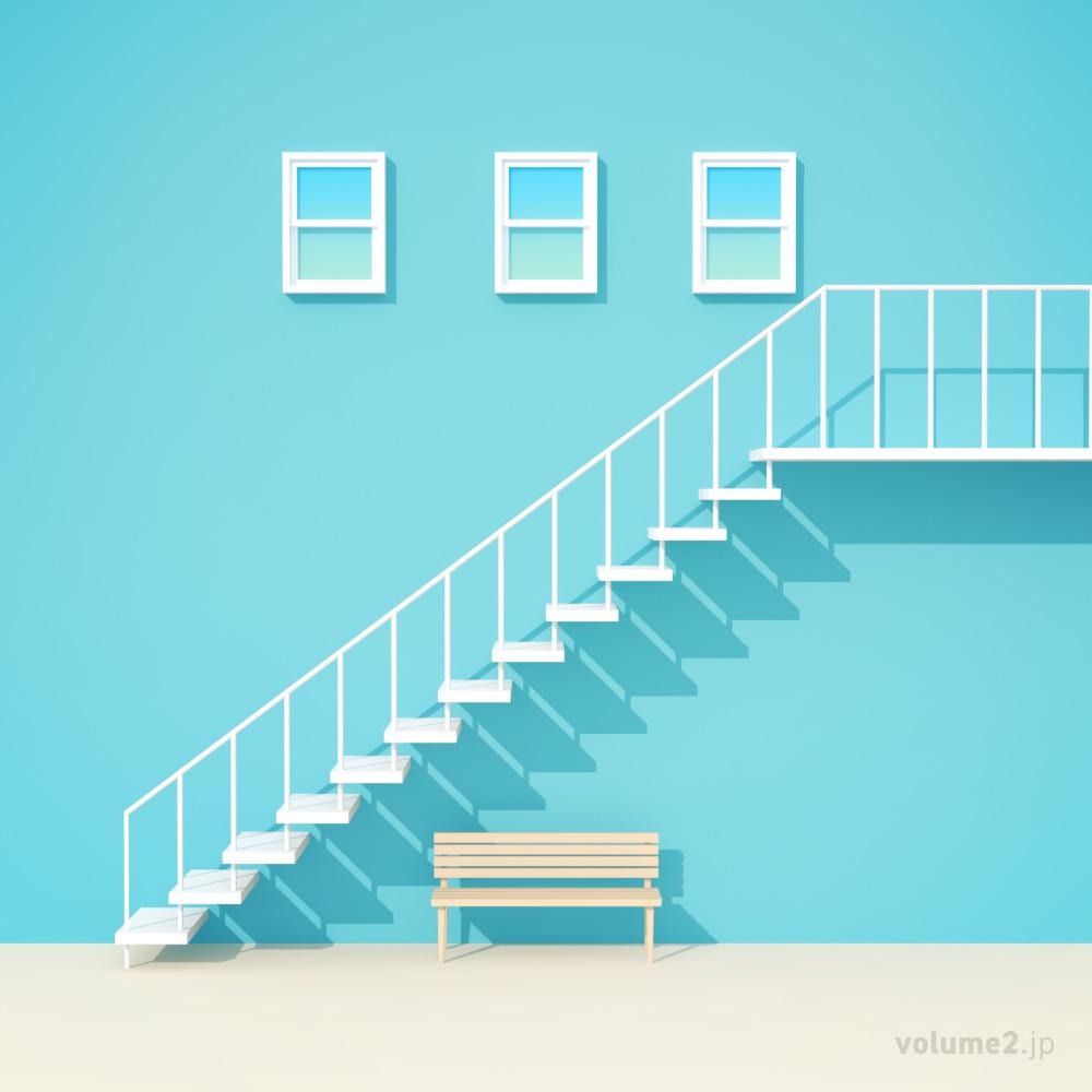 階段とベンチ