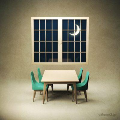テーブルと椅子と三日月