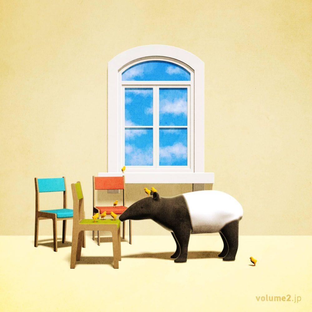 椅子とヒヨコとバクと窓